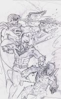 Batman And Superman Against The Robots by Akthar