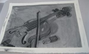 Cello Charcoal Drawing by ange-etrange