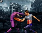 Captain America and the Joker Fighting 2 by KenCosplay