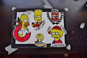 The Simpsons Tattoo Flash by DeadEndArtJV