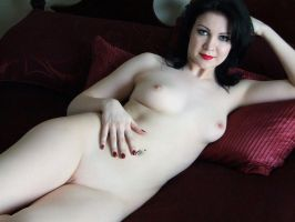 Pale Grl On The Big Red Bed by Snapfoto