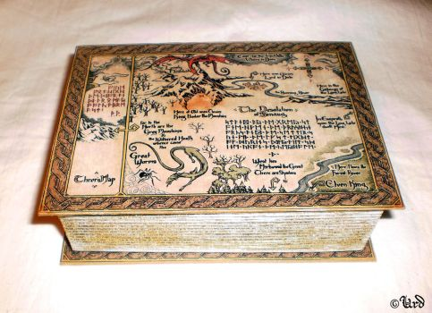 The Hobbit Bilbo Baggins book box with Thror's map by UrdHandicrafts