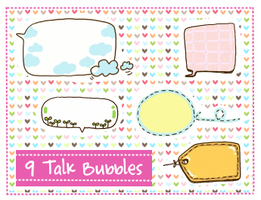 Talk Bubbles Clipart set 2 by SparklingTea