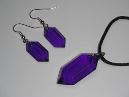 Rupee Earring and Pendant Set (purple) by ChinookCrafts