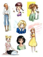 Girls doodles by roby-boh