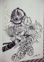 owl with flowers by hannsaki