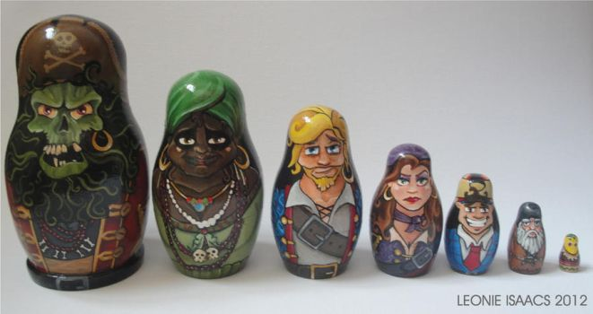 Monkey Island nesting dolls line-up FRONT by LeonieIsaacs