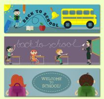 3 Creative School Banner Vector by FreeIconsdownload