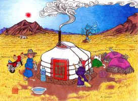 Cats and a Yurt by eye-of-tengri