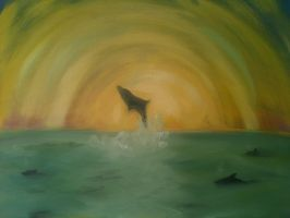 Dolphin Sunset by Jinsmadventure