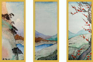 View of Mount Fuji - a Triptych by MirielVinya