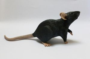 Black Fancy Rat Sculpture Commission by philosophyfox