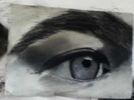 My Eye in Charcoal and Conte by Tentailedbeast