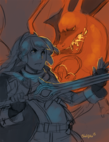 Lucina and Charizard by BloodnSpice