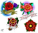 tattoo roses in various popular styles by atdoodle