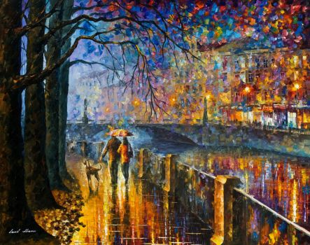 Alley By The River by Leonid Afremov by Leonidafremov