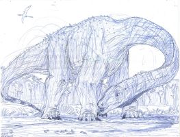 Lost World Reborn: Behemothosaurus elephamimus by MickeyRayRex