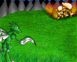 Scyther vs. Arcanine by racingwolf