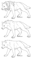 Free Wolven or Wolf Lineart by FerianMoon