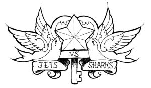 Jets Vs Sharks Logo 2 by monkeydeathcult