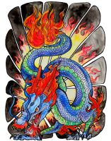 Fire Dragon watercolor by jupiterjenny