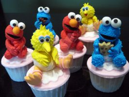 Baby Big Bird Cookie Monster Elmo by Purplepugz