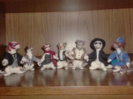 LXG needlefelted weasels by SilverGryphon8