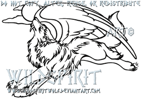 Flying Werewolf Lineart Tattoo by WildSpiritWolf