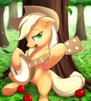 Applejack playing her banjo by aymint