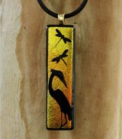 Egret Sunset Fused Glass by FusedElegance