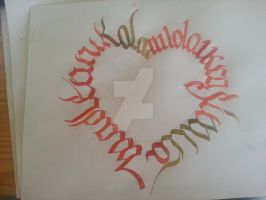 Heart Calligraphy - Calligram Ciillk Calligraphy by Milenist