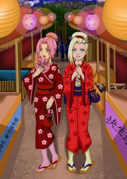 Commission: Sakura and Ino at the festival by ArisuAmyFan