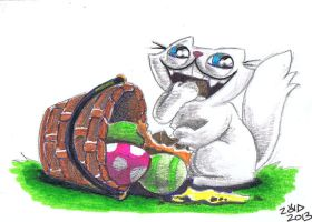 Funny cat is in your easter basket eating your egg by KingZoidLord