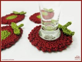 Dark Red Crochet Coaster by GehadMekki
