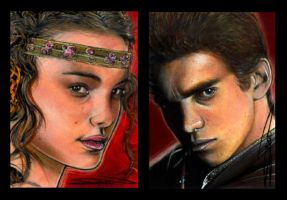 Anakin and Padme Sketch Cards by RandySiplon