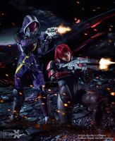 Shepard and Tali - Mass Effect Cosplay by Evil-Siren