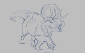 Triceratops Sketch by Ikameka