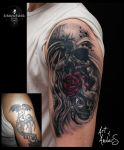 Coverup Rose Skull by Anderstattoo