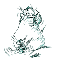 Ren and Stimpy as Asterix and Obelix by Mouseren