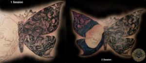 Butterfly Skull Faces in prog. by 2Face-Tattoo