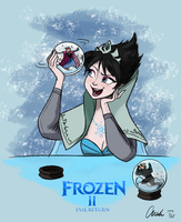 Disney Frozen Evil Elsa's Snow Globe by ChiehChen