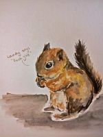 Watercolor - Squirrel by angelaalee