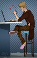 Nolan and his Laptop by adubioussoul