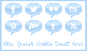 Blue Speech Bubble Social Icons by Odyrah