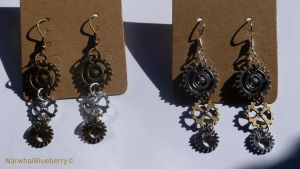 Steam-Punk Earrings by Narwhal-Blueberry