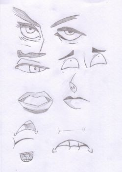 Eye and Mouth Sketches by TheOneAndOnlyGeordie