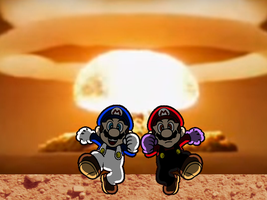 SMG4 and FM54321 running the explosion by Catali2016