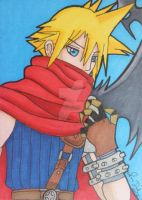 Commish: Cloud Strife ACEO by LadyNin-Chan