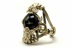 Wire Wrap Cocktail Ring with Black Star Diopside by hyppiechic