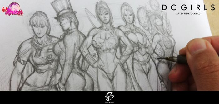 DC Girls Sketch by renatocamilo